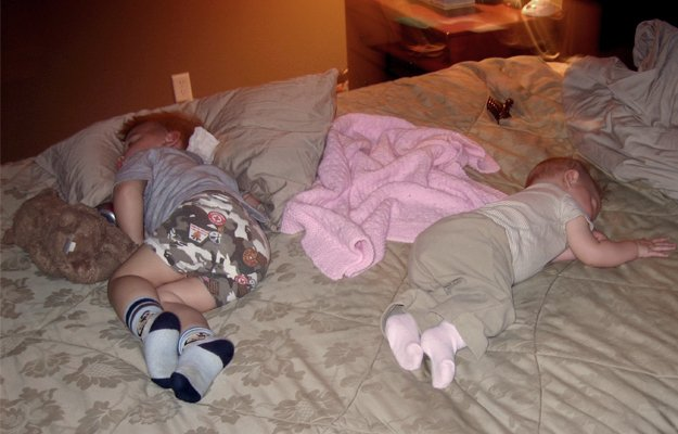 Here are the kids asleep after a trip to Bounce U.