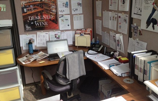 My desk: where the media kit madness begins.