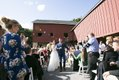 Bride and groom recessing down aisle after wedding ceremony