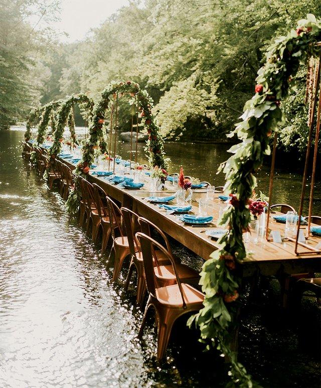 Bacon & Lox Society dinner in a creek