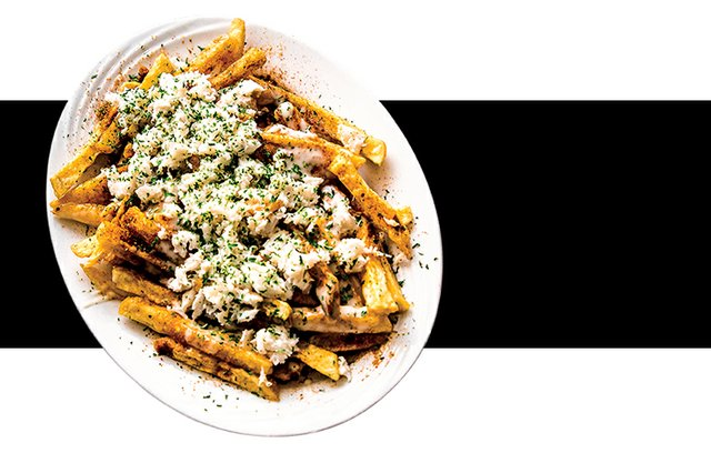 Wert's Famous Fries topped with jumbo lump crabmeat and homemade cheese sauce