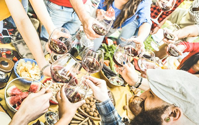 Young, cheery twenty-somethings toasting with red wine over picnic table laden with food.