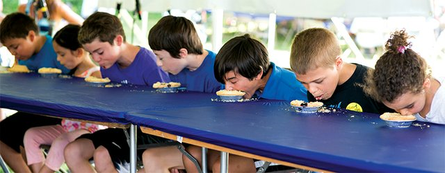 Pie-eating contest at Blueberry Festival