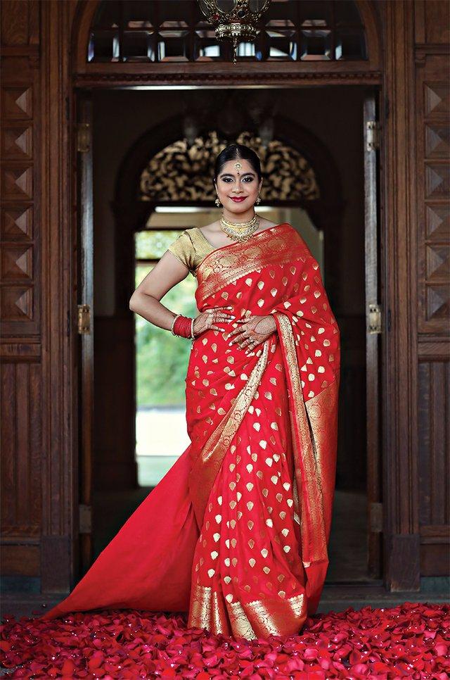 Saree red pedding, Aarah, Padded Brocade Choli, copper, Chandrakala