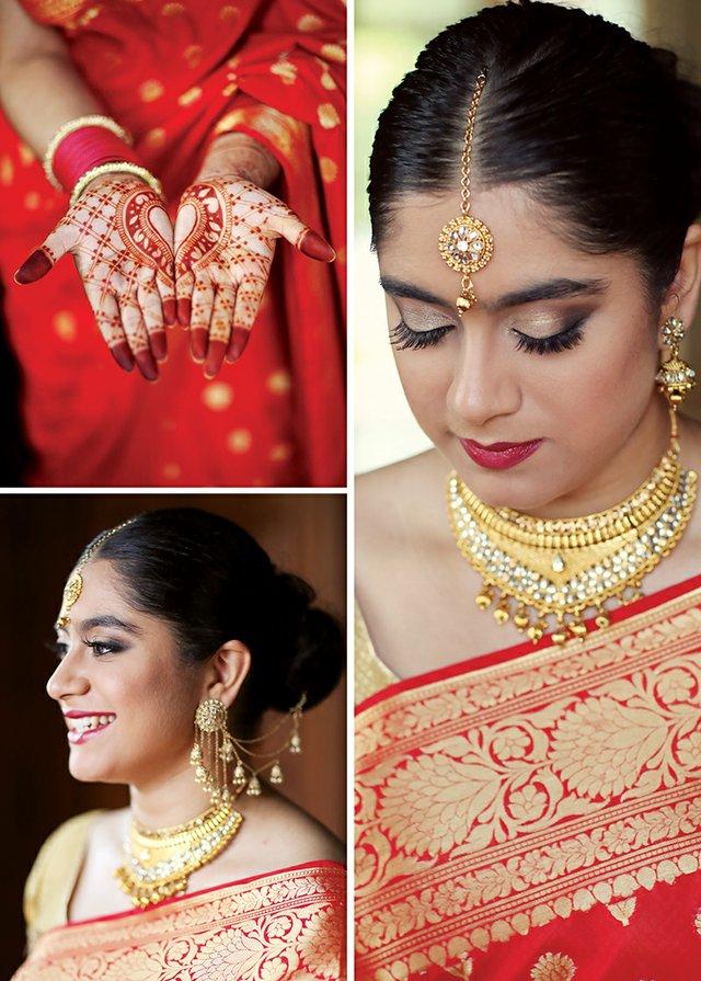 Henna by Priya Rattan of Mehndi And Mandalas, Long-chain Devsena  Bahubali Jhumka  Jhumki, Bindhani, Gold-plated Indian wedding Kundan Choker set with Jhumki earrings Tikka, Bindhani