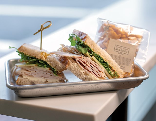 Church Street Market, Sourdough bread, turkey,  creamy brie, apple slices, arugula and whole grain mustard