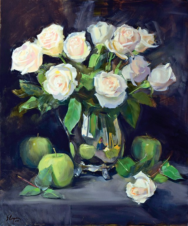 Sandra-Coppora,-White-Roses-and-Green-Apples,-oil.jpg